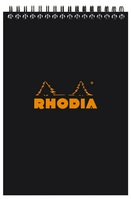 Top wirebound Rhodia notepad with black cover.