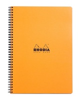 Wirebound Rhodia notebook with orange cover.