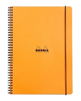 Wirebound Rhodia Elasti Book with orange cover.