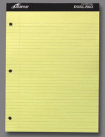 Ampad DoubleSheet Writing Pad, 812 X 1134, College Rule, Canary Paper, 100 Sheets