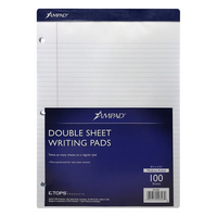 Ampad DoubleSheet College Ruled Writing Pad 812 x 1134, 3Hole Punched, 100 Sheets