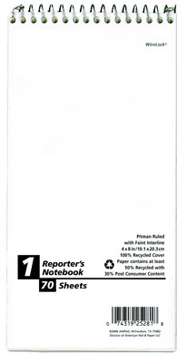 Earthwise by Ampad Recycled Reporters Notebooks, 4 x 8, Pitman Rule, 70 Sheets