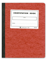 Ampad Computation Book, Graph Ruled (4 x 4), Red Pressboard Covers, Ivory Paper, 76 Sheets