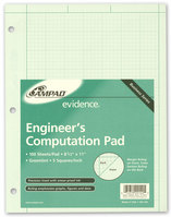 Ampad Engineering Computation Pad, 812 X 11, Glue Top, Green Tint Paper, 100 Sheets