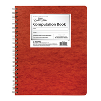 Ampad Computation Book 938 x 1134 Spiral  Graph Ruled  Red Pressboard 76 Sheets
