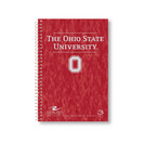 3 sub imprinted notebook.  9.5x6.5 college ruled, 120 sheets. Prsbd cover, foil stamped. 3 pockets