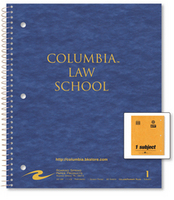 1 sub imprinted notebook.  11x9 Law ruled, 80 sheets. Pressboard cover, foil stamped. 1 pocket