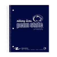 3 subject 120 sheet imprinted notebook with Penn State University logo. Click photo to view other possible graphic options.