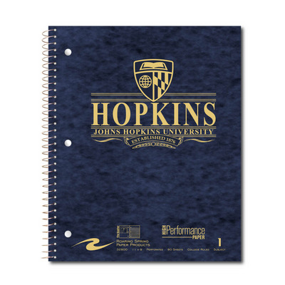 1 sub imprinted notebook.  11x9 College Ruled.  80 Sheets.  Cover with builtin pckt, foil stamped
