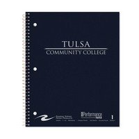 Imprinted Linen College Ruled 1 Sub Notebook, Heavyweight Paper, Double Pocket, 11 x 9, 100 Sheets