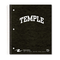 5 sub imprinted notebook. 11x9 college ruled, 180 sheets. Pressboard cover, foil stamped. 1 pocket