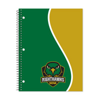 1 sub imprinted notebook.  11 x 8.5 College Ruled 70 sheets.  Digi Divide Cover Design