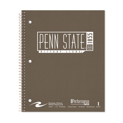 1 sub imprinted notebook.  11x9 college ruled, 100 sheets. Linen cover, foil stamped. 1 pocket