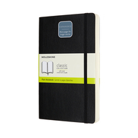 Moleskine Classic Notebook, Expanded, Large, Plain, Black, Soft Cover