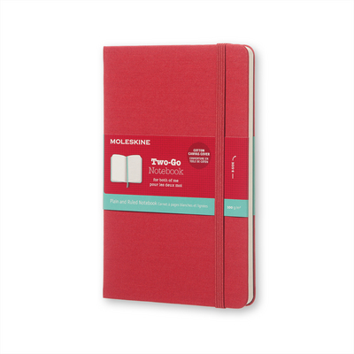 Moleskine TwoGo Notebook Medium RuledPlain Raspberry Red