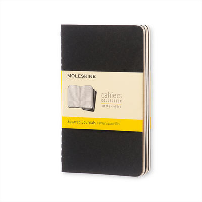 Moleskine Cahier Journal (Set of 3), Pocket, Squared, Black, Soft Cover