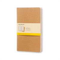 Moleskine Cahier Journal (Set of 3), Large, Squared, Kraft Brown, Soft Cover