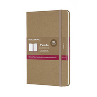 Moleskine TwoGo Notebook, Kraft Brown, Medium with Ruled and Plain pages