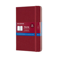 Moleskine TwoGo Notebook Medium RuledPlain Cranberry Red