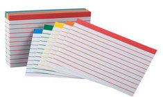 COLOR CODED RULED 3x5 INDEX CARDS