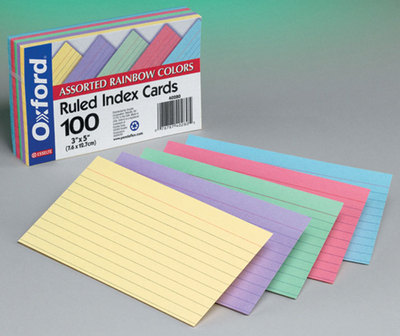 OXFORD INDEX CARDS 3x5 COLORED