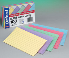 Oxford Ruled Color Index Cards 3 x 5, Assorted Colors, 100Pack