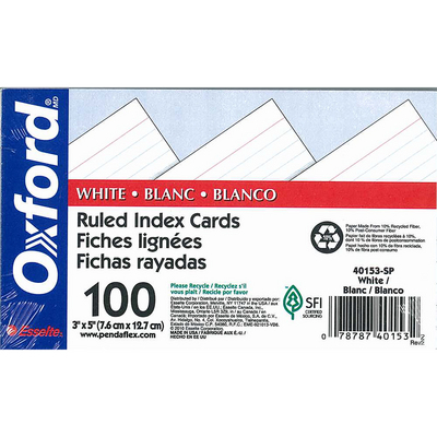 Oxford Ruled Index Cards 3 X 5 White 100 Per Pack