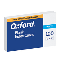 Oxford Blank Index Cards, 5 x 8, White, 100 Per Pack
