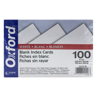 Oxford Blank Index Cards, 4 x 6, White, 100 Per Pack