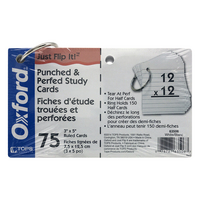 Oxford Just FlipIt Punched and Perforated Study Cards, Ruled, White
