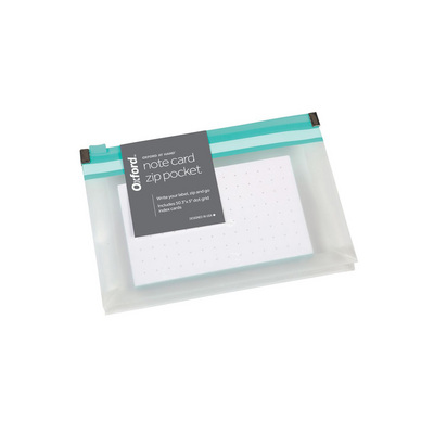 Oxford At Hand Note Card Zip Pocket Gray 50 3 x 5 Dot Grid Cards