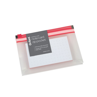 Oxford At Hand Note Card Zip Pocket Pink 50 3 x 5 Dot Grid Cards