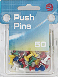 Ava Push Pins Assorted Colors 50 Count