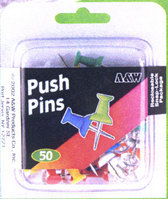A&W Push Pins Assorted Colors 50 Count
