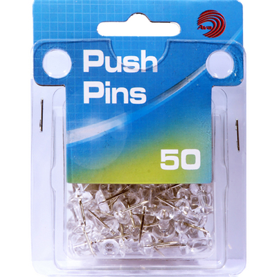 Avantix Push Pins Clear 50Ct
