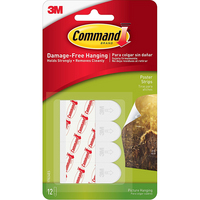 3M Command Poster Hanging Strips 12 Strips White