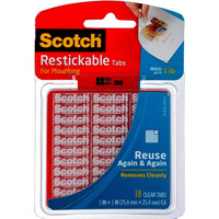 Scotch Restickable Tabs 1 in. x 1 in. Clear 18 Pack