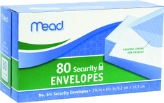 Mead #6 34 Security Envelopes, 3 58 x 6 12, White, 80 Count