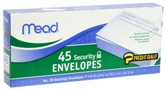 Mead #10 PressIt SealIt Security Envelopes, 4 14 x 9 12, White, 45 Count