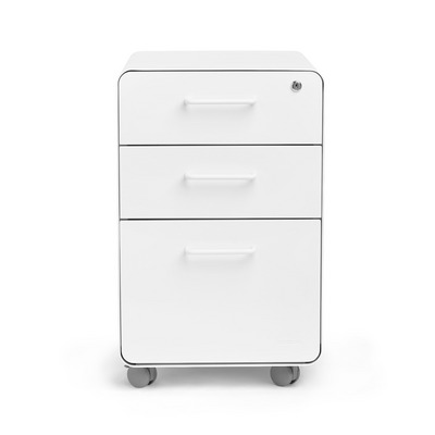 Poppin White Stow 3Drawer File Cabinet, Rolling