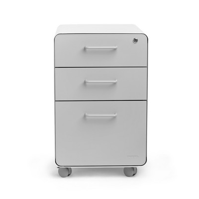 Poppin White  Light Gray Stow 3Drawer File Cabinet, Rolling