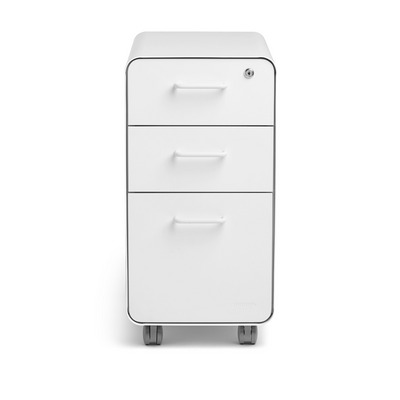 Poppin White Slim Stow 3Drawer File Cabinet