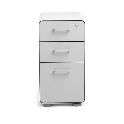 Poppin White  Light Gray Slim Stow 3Drawer File Cabinet, Rolling