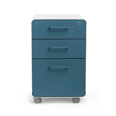 Poppin White  Slate Blue Stow 3Drawer File Cabinet