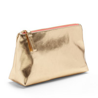 Poppin Gold  Coral Medium Accessory Pouch