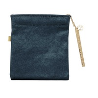 CR Gibson Velvet pouch with gold metal charm, Zipper closure, Open stock, Measures 4.375 x 5