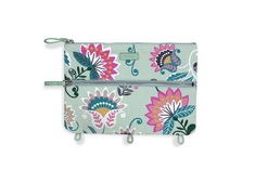 Pencil Pouch, Mint Flowers