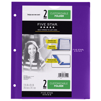 Five Star Customizable Plastic Folder, 9 12 x 11 34, Assorted Colors