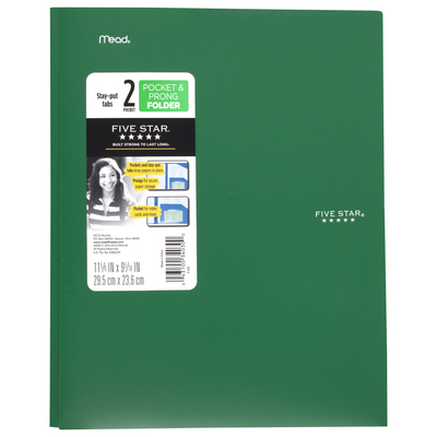 Five Star StayPut Plastic and Prong Folder, Assorted Colors