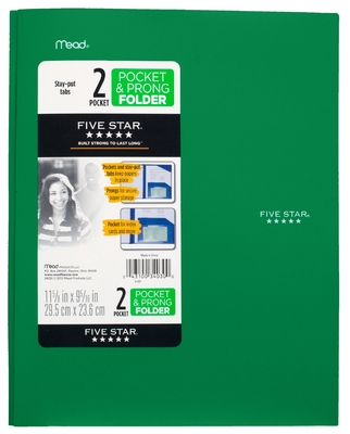Five Star StayPut Pocket & Prong Folder, Assorted Colors
